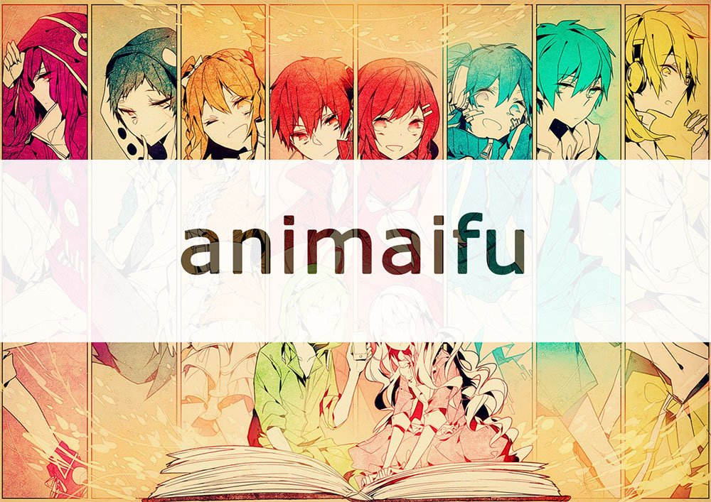Imagen promocional de Animaifu con el logotipo sobre una ilustración con varios personajes de anime