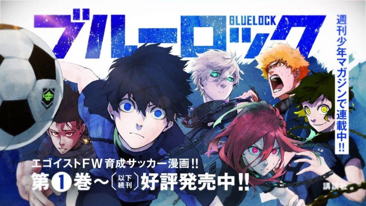 Página a color de Blue Lock con los protagonistas corriendo hacia la.camara en un fondo azul y blanco.