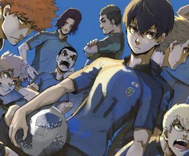 Imagen a color de 'Blue Lock' con todos los protagonistas posando en un fondo azul.