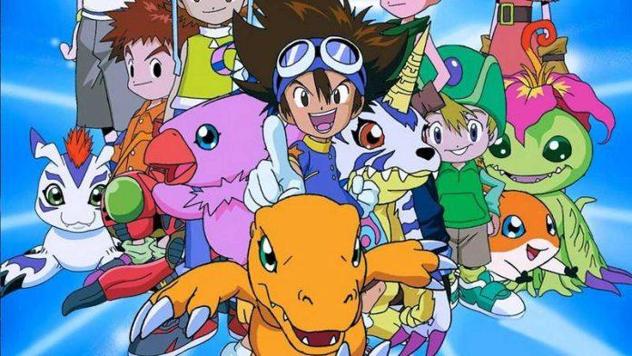 Imagen promocional de Digimon Adventure con todos los protagonistas reunidos con sus Digimons a la.cabeza.