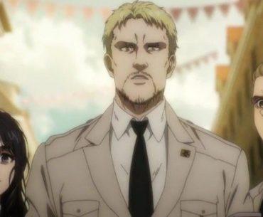 Imagen tomada de 'Shingeki no Kyojin The Final Season' con tres personajes de la serie en trajes militares formales a plena luz del día mientras al fondo se ve el cielo entre pequeños edicificios.