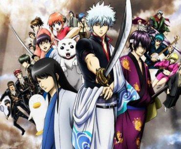 Imagen promocional de Gintama de Final con todos los protagonistas reunidos en el centro de la imagen mientras miran a la cámara con un fondo se humo grisáceo.