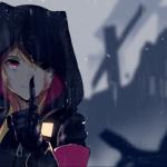 Imagen promocional de 'Girls' Frontline' con una de las chicas en mediomde una lluvia mientras se pone el índice en los labios en señal de hacer silencio.