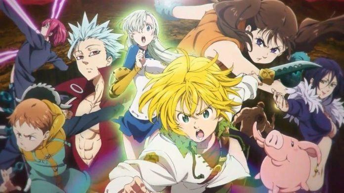 Imagen oficial de Nanatsu no Taizai con todos los protagonistas reunidos demostrando su poder.