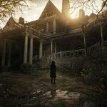 Residen Evil imagen de una niña y al dondo una mansion en penumbra