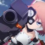 Imagen tomada del tráiler de 'Soukou Musume Senki' con la protagonista apuntando con su arma mientras vuela por el cielo.