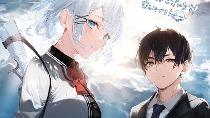 Imagen promocional de 'Tantei wa Mou, Shindeiru.' con los protagonistas en un cielo azul lleno de nubes.