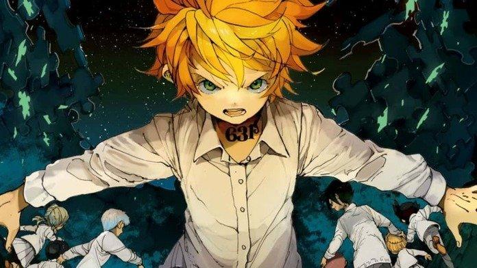 Imagen tomada del manga de 'Yakusoku no Neverland' con Emma plantada frente a la cámara con los brazos extendidos mientras los huerfanos huyen a su espalda.