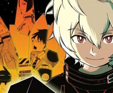 Ilustración tomada del manga 'World Trigger' con el protagonista en un primer plano hacia la.derevva D la.imagen mientras sostiene un cubo negro y al fondo se ve un patrón de panal en naranja con protagonista en ne color negro.