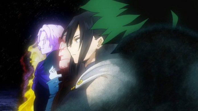 Imagen tomada del anime de 'Boku no Hero Academia' con Deku cubierto de una sombra negra y al fondo los portadores del One For All muertos al fondo.