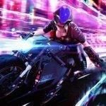 Motociclista en la calle Night City de Ciberpunk 77