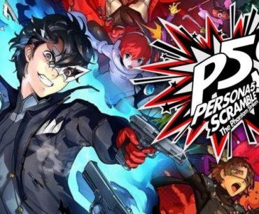 Imagen promocional de 'Persona 5 Strikers' con todos los personajes en una explosión de color con el logo a la izquierda de la imagen.