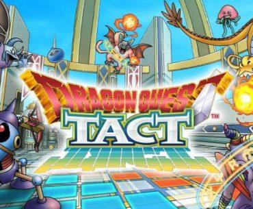 Imagen de presentación de Dragon Quest Tact, incluyendo su logo y a sus monstruos más destacados