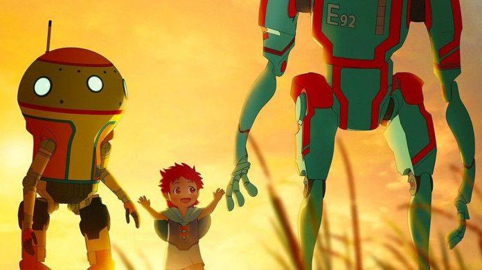 Imagen tomada del la serie original de Netflix, Eden, con la protagonista en su versión de la infancia tomando la mano de dos robots mientras caminan en un campo de trigo al atardecer