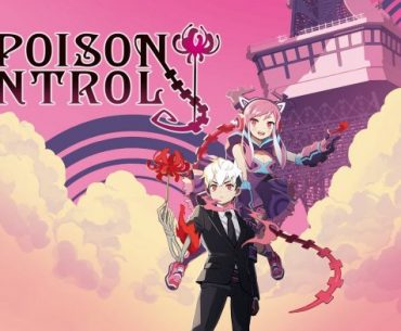 Imagen promocional de 'Poison Control' con los protagonistas viendo hacia la cámara con rosas en las manos mientras al fondo se ve una nube que cubre el piso y el cielo en color magenta.