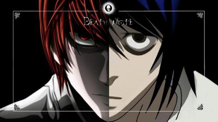 Imagen con La mitad del rostro de Light y la mitad del rostro de L unidas y el marco de la Dear Note alrededor.