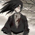 Imagen tomada del anime Dororo con Hiakkymaru parado en un paisaje desértico cubierto de sangre.