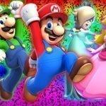 Super Mario 3DWorld con sus amigos en fondo colorido