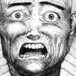 Ilustración tomada del.manga 'Doumu' de Katsuhiro Otomo con un primer plano del protagonista con expresión de terror en blanco y Negro