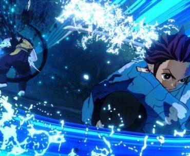 Imagen tomada del tráiler de 'Demon Slayer: Kimetsu no Yaiba - Hinokami Keppuutan' con Tanjiro culminando su ataque a un demonio rodeado de agua.