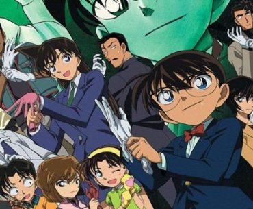 Imagen tomada de 'Detective Conan' con todos los protagonistas preparándose para resolver un caso mientras miran hacia la cámara.