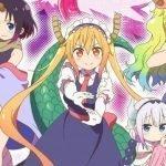 """Imagen promocional de 'Kobayashi-san Chi no Maid Dragon Miss Kobayashi's Dragon Maid S' con las protagonistas haciendo una """"s"""" con las.manls en un fondo de luces violetas y fucsias."""