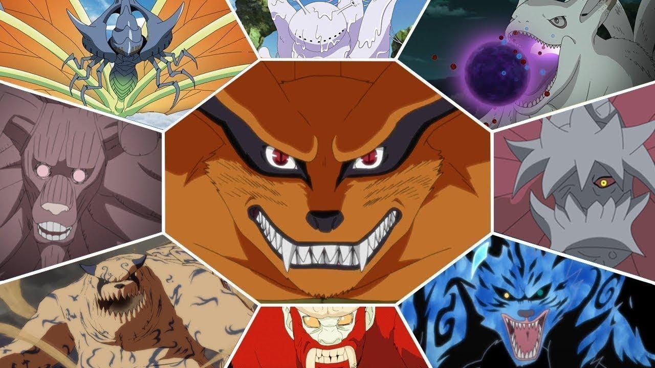 Imagen tomada del anime 'Naruto' con un prisma en el que cada espacio está ocupado por un Biju con el kiuby en el centro.