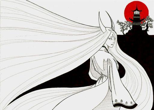 Ilustración a lápiz de Kaguya Ootsutsuki de espaldas y volteando hacia la cámara mientras al fondo se ve un castillo.