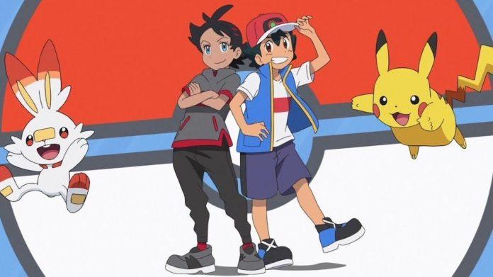 Imagen promocional de 'Pokémon Journeys' con los protagonistas en el centro con sus pokemons acompañantes saltando a los lados y al fondo el diseño de una pokebola.