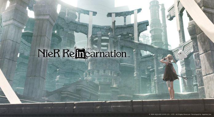 Imagen promocional de NieR Re[in]carnation con la.ñ protagonista a un lado mientras admira una ruinas a sus espaldas