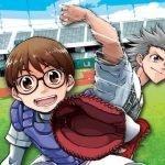 Imagen promocional de 'Nine Dragons' Ball Parade' con los protagonistas catchando y lanzando mientras al fondo se ve el estadio de béisbol.