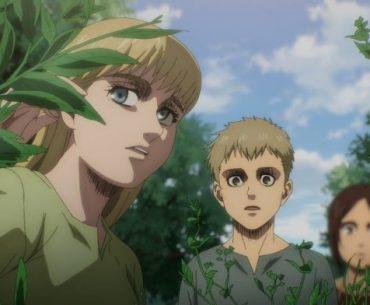 Imagen tomada de 'Shingeki no Kyojin The Final Season' con Lata, Falcón y Gabi caminando entre un pastizal con árboles frondosos al fondo