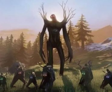 Vikingos haciendo frente a un gigante mitológico