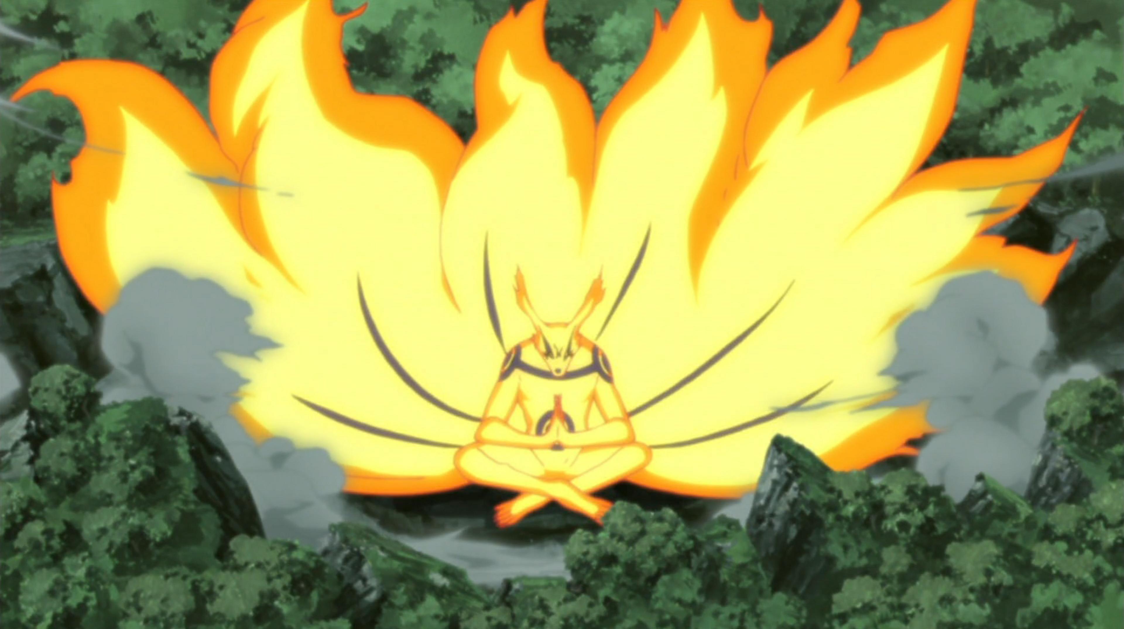 Imagen tomada del anime 'Naruto' con el bijuu en pose de meditación en medio del.bosque.