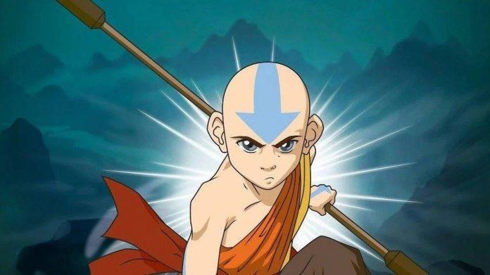 Imagen tomada del anime 'Avatar la leyenda de Aang' con Algún primer plano de Aang' en posición de batalla.
