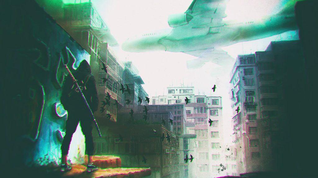 Imagen promocional de la nueva obra de Keiichiro Toyama y Bokeh Game Studio. Un hombre con una katana mira una ciudad y un avión peligrosamente cerca