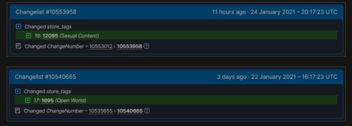 Etiquetas en SteamDB.