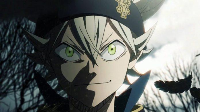 Imagen tomada del anime 'Black Clover' con un primer plano de Asta en un fondo iluminado