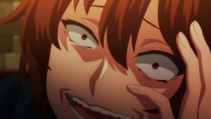 Imagen tomada del anime 'Kaifuku Jutsushi no Yarinaoshi' con el protagonista con expresión de felicidad que raya en lo psicópata.