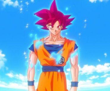 Goku en su transformación a Dios Super Saiyajin en Dragon Ball Z: La Batalla de los Dioses