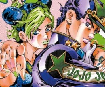 Ilustración del manga 'Jojo no Kimyou na Bouken Stone Ocean' con Jolyne y Jotaro en una motocicleta mientras miran a la cámara en un fondo rosa.