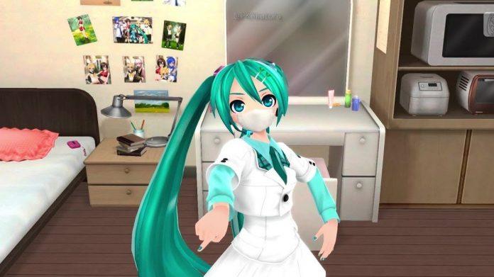 Imagen tomada de los livestream de Hatsune Miku bailando con tapabocas en su habitación.