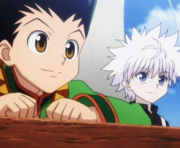 Imagen tomada del anime 'Hunter x Hunter' con Gon y Killua mirando hacia el horizonte mientras están en un bote.