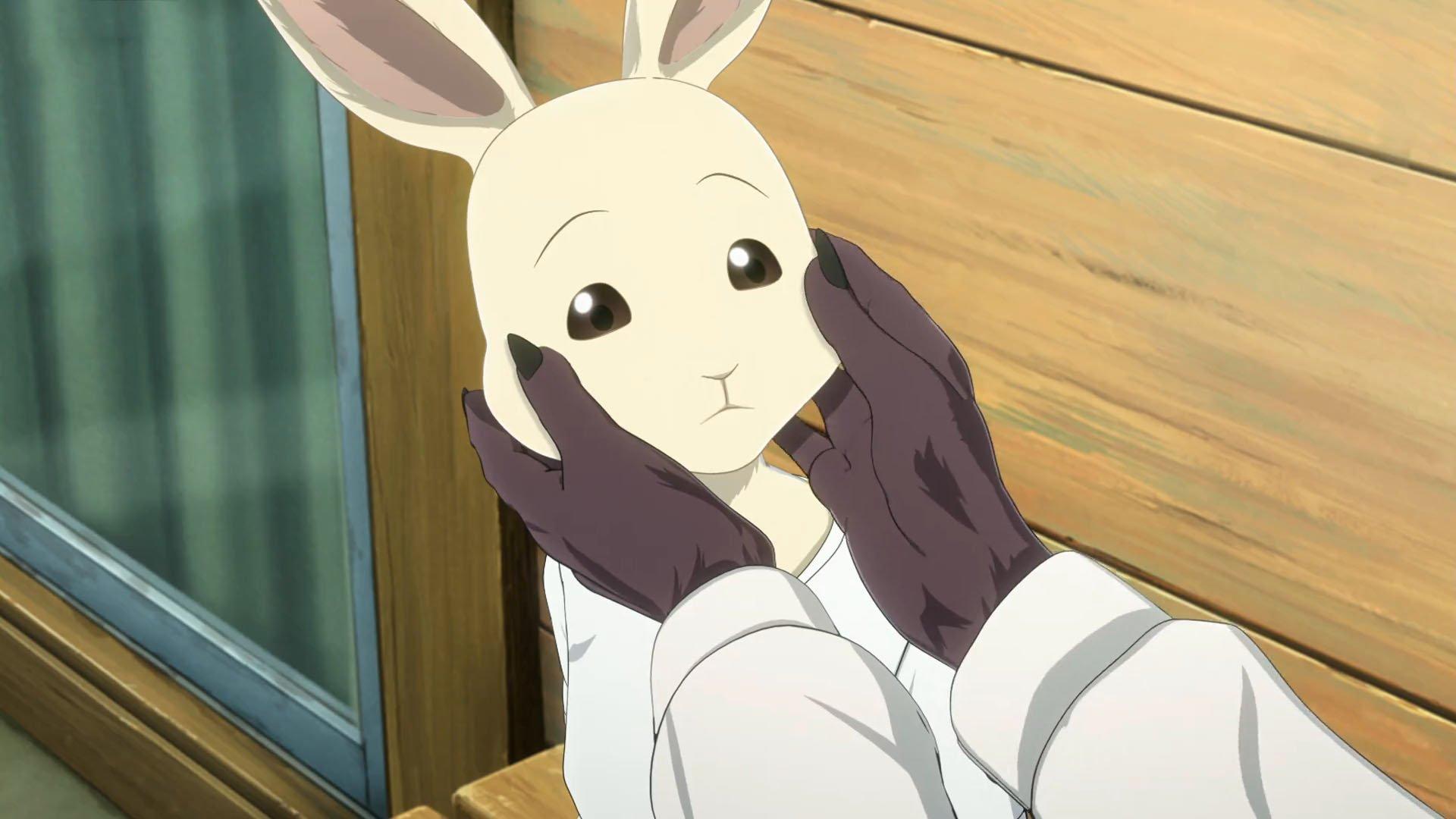 Imagen tomada del anime 'Beastars' con un primer plano del rostro de Haru entre las manos de Juno.