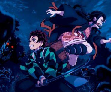 Imagen tomada del anime 'Kimetsu no Yaiba' con Tanjiro y Nezuko luchando contra una gorda de demonios en el medio de la noche