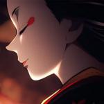 Estracto del trailer de Kimetsu no Yaiba con la imagen de una mujer maquillada como al estilo de las geishas, con el rostro de perfil.