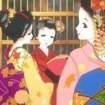 Imagen promocional de Kiyo in Kyoto: From the Maiko House, con tres geishas saliendo de la casa Maiko