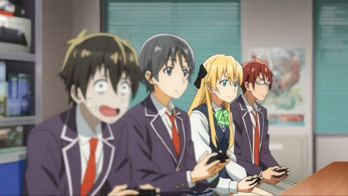 Protagonistas de GAMERS! en medio de una sesión de juegos en el club de la escuela