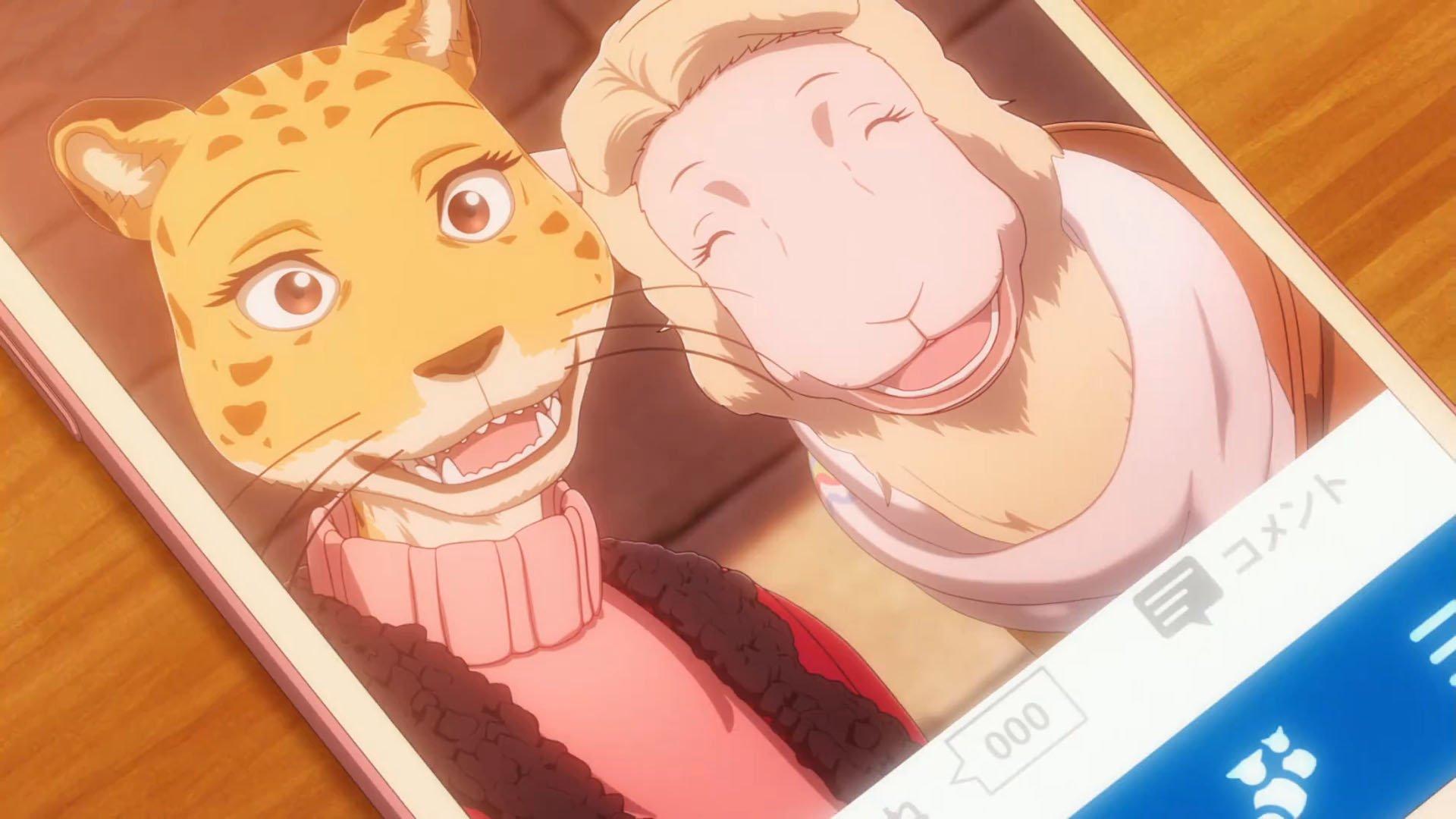 Imagen tomada del anime 'Beastars' que muestra una fotografía de Sheila y Peach sonriendo una junto a la otra.