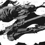 Imagen tomada del manga de 'Goblin Slayer' con el protagonista corriendo de perfil cubierto de sangre en un fondo blanco.